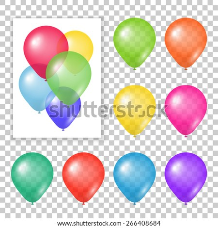 Set of party balloons on transparent background. Different colored realistic balloons vector illustration. - stock vector