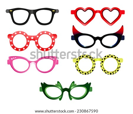 Set of party sunglasses - stock vector