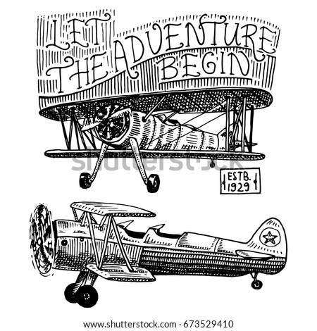 Set Passenger Airplanes Corncob Plane Aviation Stock Vector