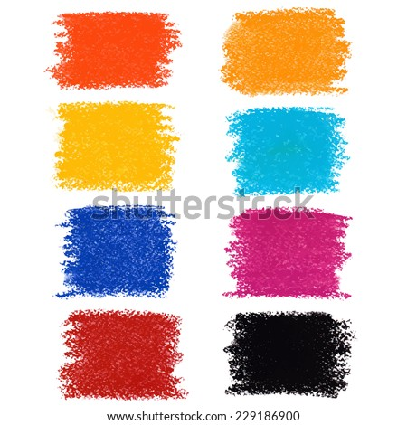 Set of pastel crayon spots, isolated on white background - stock vector