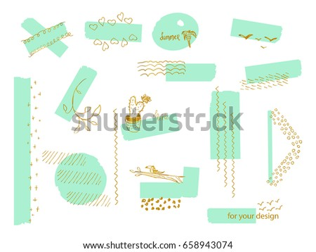 Set of pastel stickers with worn out texture and different gold hand drawn elements. Creative design elements for web, blog, card, poster, invitation, brochure, print, scrapbooking, etc.