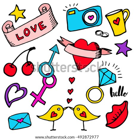 Set of patches elements: lips, heart, diamond ring, camera, gender signs, cherry, bird, letter, lettering: love, hello. Hand draw fashion stickers. Vector.