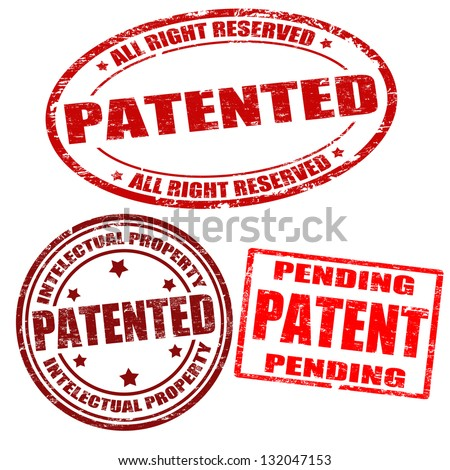 Set of patented grunge rubber stamps on white, vector illustration
