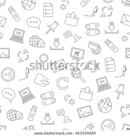 Set of Pattern communication black icons
