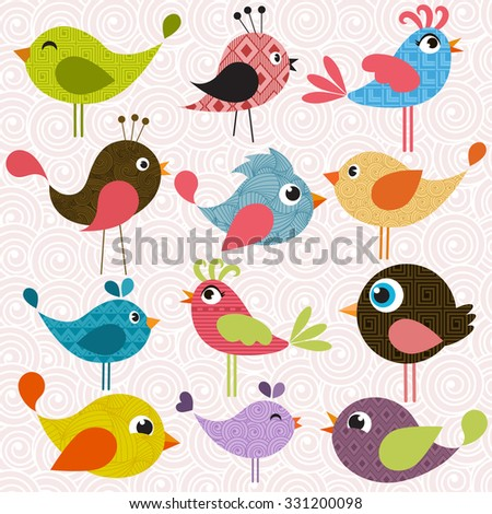 Set of patterned birds - stock vector