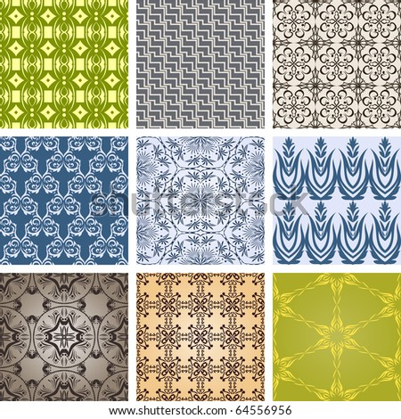 Set of patterns in retro style. Seamless - stock vector
