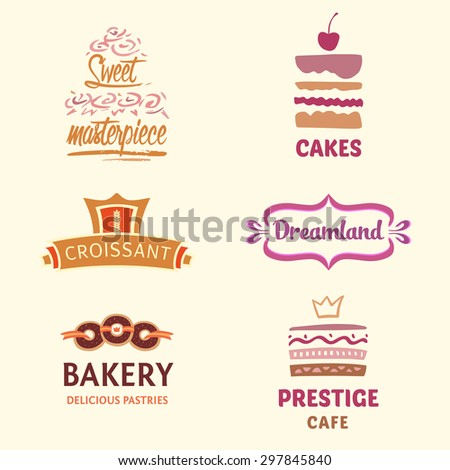 Set of patterns vector logos cakes. Logo confectionery, coffee shop. Big cakes with fillings and wedding cakes. Bakery and croissant. Sweet masterpiece market. - stock vector