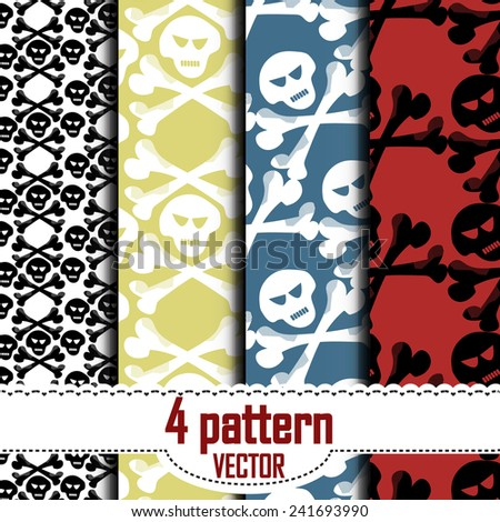 set of patterns, which show a skull and crossbones. Hidden under the mask pattern.  - stock vector