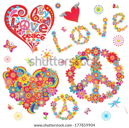 Set of peace flower symbol and floral hearts - stock vector