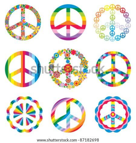 set of peace symbols - stock vector