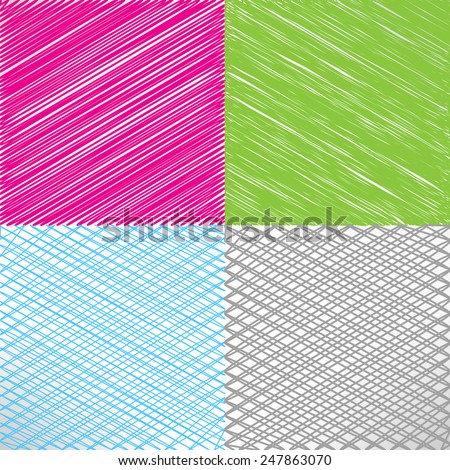 Set of pencil and marker hatching backgrounds. Hand-drawn strokes and scribbles. Vector - stock vector