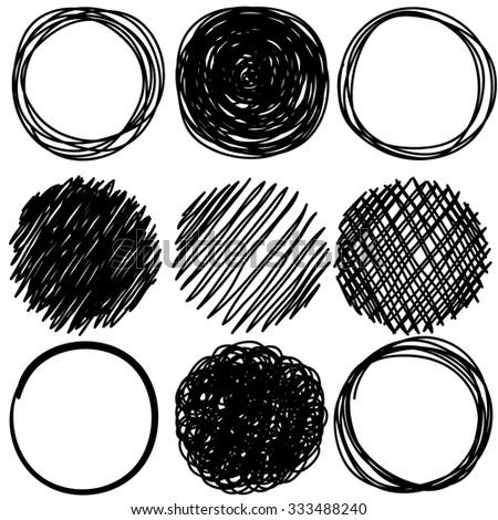 Set of pencil hand drawn doodle circles - stock vector