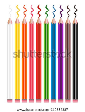 Set of pencils different colours