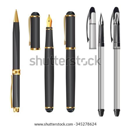 set of pens on white - stock vector