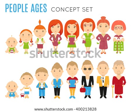 Set of people age icon. Vector people. People life stage. People illustration. Cartoon people. People generation. People concept. People avatar. People on white background. Flat people. Cute people. - stock vector