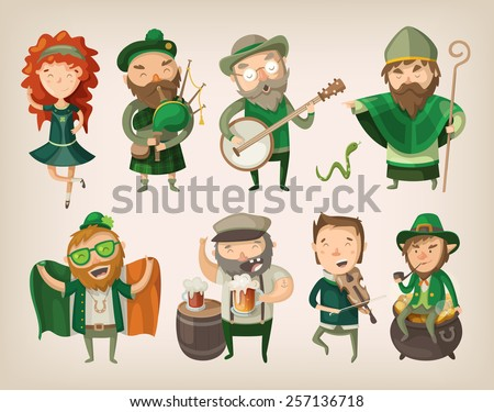 Set of people and characters you can find in an irish pub at saint Patrick's day. - stock vector