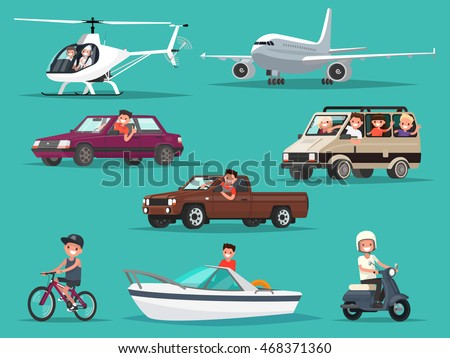 Set of people and vehicles. Aircraft, helicopters, cars, moped, bike, boat. Vector illustration of a flat design - stock vector