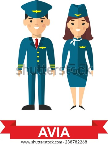 Set of people aviation, pilot and stewardess. Vector illustration of a crew, pilot and stewardess  - stock vector