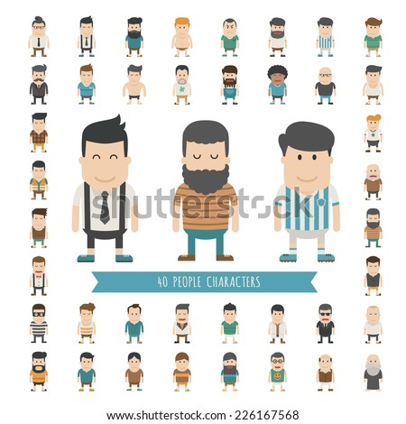 Set of 40 people characters , eps10 vector format - stock vector
