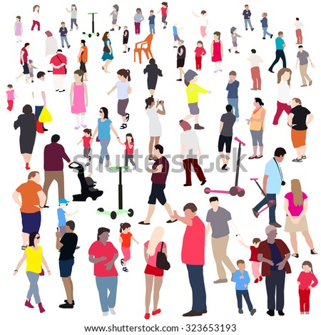Set of People. Children, Adults, Seniors. Vector Illustration. EPS10