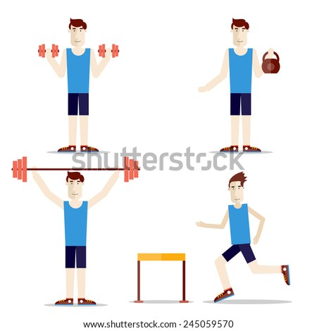 Set of people do exercises. Health and sport. Weight lifting. Steeplechase. Barbells, dumbbells, weight. - stock vector