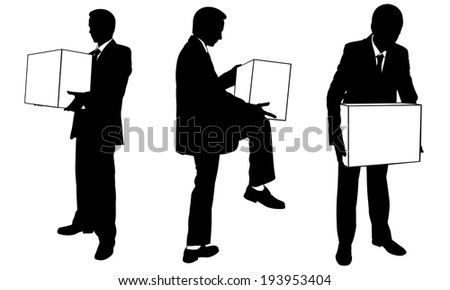 set of people holding boxes - stock vector