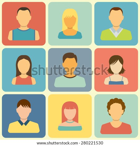 Set of People Icons. Flat Style Modern Design. Vector Illustration - stock vector