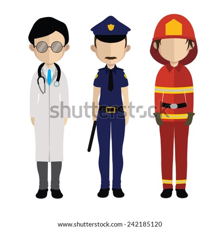 Set of people icons in flat style police fireman doctor - stock vector