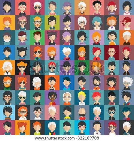 Set of people icons in flat style with faces. Vector women, men character Set 22 a - stock vector