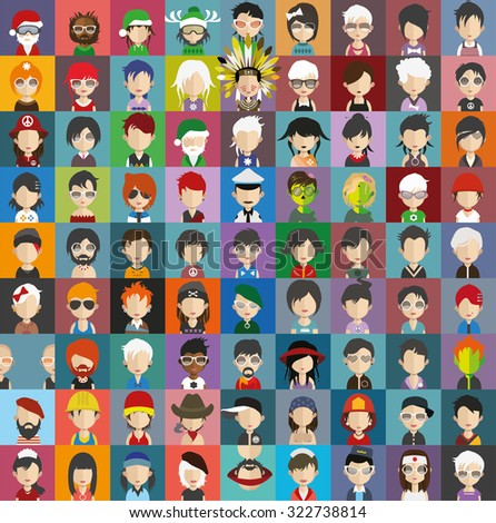 Set of people icons in flat style with faces. Vector women, men character Set 24 b - stock vector