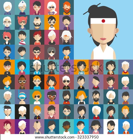 Set of people icons in flat style with faces. Vector women, men character Set 25 b - stock vector