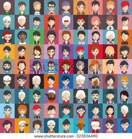 Set of people icons in flat style with faces. Vector women, men character Set 26 b - stock vector