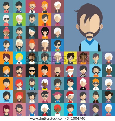 Set of people icons in flat style with faces. Vector women, men character Set 32 b - stock vector