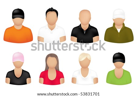 Set Of People Icons, Isolated On White - stock vector
