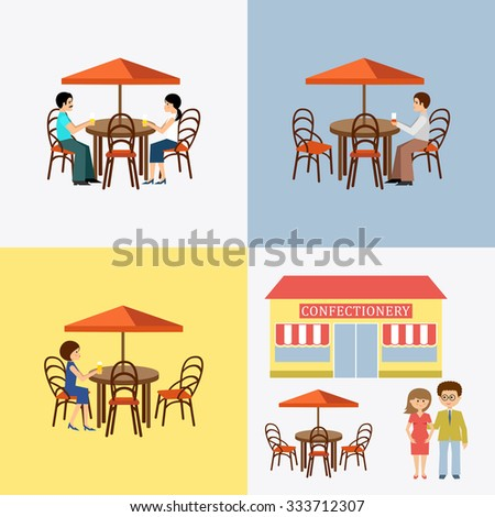 Set of people in cafe. Flat icon. Vector illustration