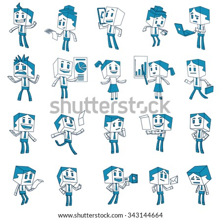 Set of People in the office in line style, 20 characters doing work with different emotions, vector - stock vector