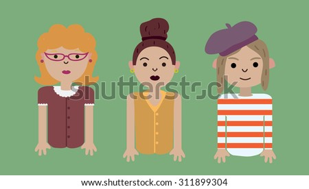 Set of people isolated on green background. Different nationalities and dress styles. Cute and simple flat cartoon style.