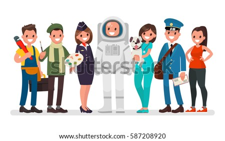 Set of people of different occupations plumber, painter, stewardess, astronaut, veterinarian, postman, coach. Vector illustration in a flat style