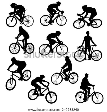 Set of People on Bikes-Silhouettes. Vector Image - stock vector