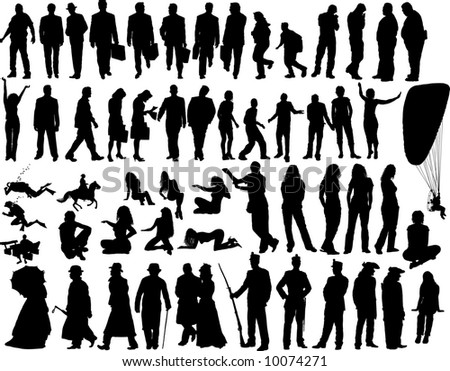 Set of  People  Silhouettes in Different Poses. Travel, Business, Still life,  Tripping, Erotic, Diving, Standing, Going, Posing, Sitting. High Detail Vector Illustration.