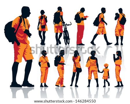 Set of people silhouettes. Tourists on a trip. - stock vector