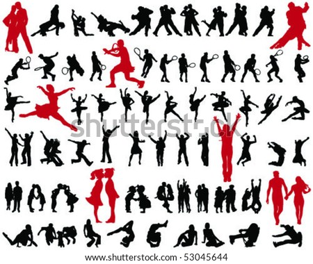 set of people silhouettes 2- vector