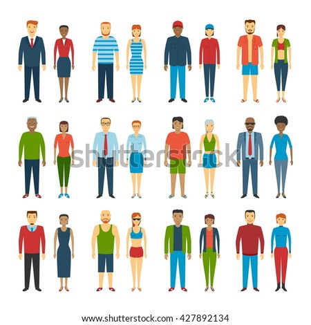 Set Of People Standing On White Background. Different dress styles. Vector Illustration