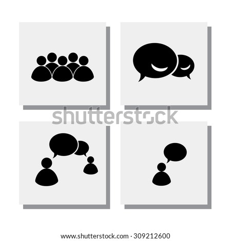 set of people talk discuss meet - vector icons. this also represents concepts like online chat, phone chat, exchange views, group chat, internet communication, interaction - stock vector