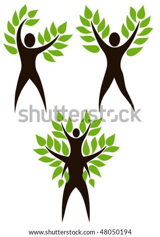 Set of people Tree. Stylized tree with person in its basis. Illustration symbolizes the unity of Human and Nature, environmental protection - stock vector