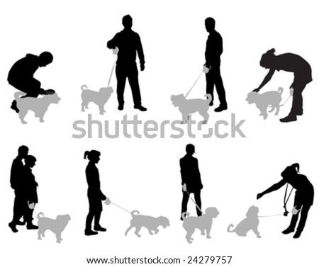 set of people with dogs vector - stock vector