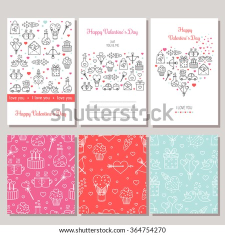 Set of perfect card templates with cute line elements. Valentine's Day greeting card with line icons . Vector seamless patterns. - stock vector