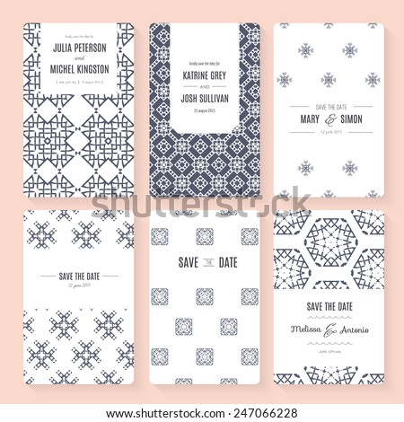 Set of perfect vector card templates. Ideal for Save The Date, baby shower, mothers day, valentines day, birthday cards, invitations. - stock vector