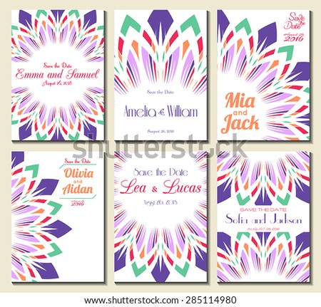 Set of perfect wedding card templates. Ideal for Save The Date, baby shower, mothers day, valentines day, birthday cards, invitations. Vector illustration vintage design. - stock vector