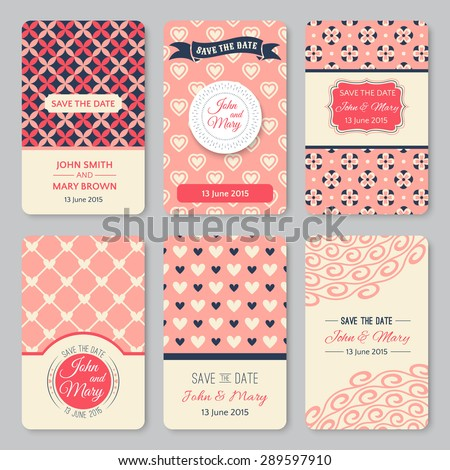 Set Of Perfect Wedding Templates With Pattern Theme. Ideal For Save The Date,  Baby